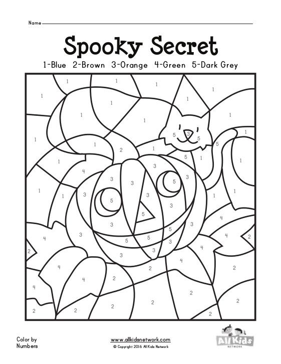 Color By Numbers Halloween Printable 7