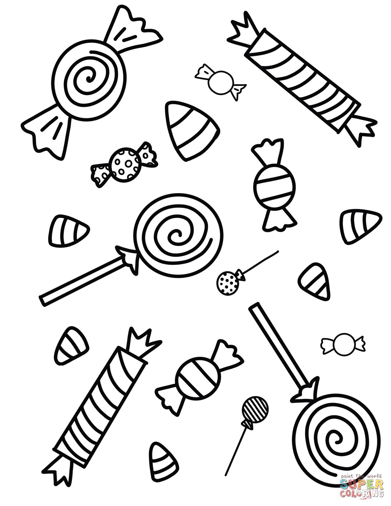 Halloween candy coloring pages 5