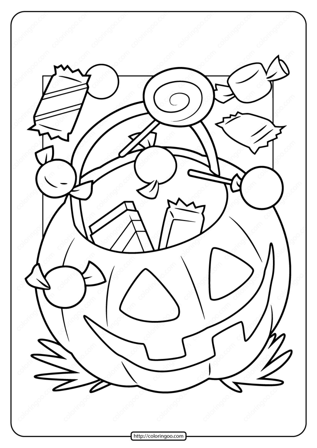 Halloween candy coloring pages 7